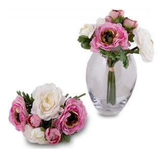 Ramo De Rosas Flores Blancas Y Rosa ( No Incluye Florero )