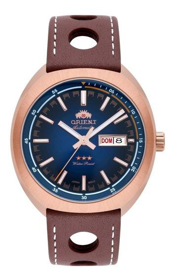 Relógio Orient Masculino Automático 469rp082 D1mb Rose Couro