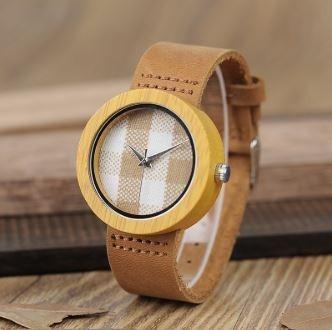 Relógio Feminino Bambu Analógico Bobo Bird Ld18 Xadrez