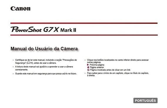Manual Em Português Câmera Canon Power Shot G7x Mkii Em Pdf