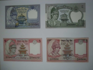 Billetes De Rupia De Nepal (1, 2 Y 5 Rupias) 1981 - 2002