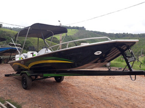 Lancha Barco Pesca Aluminio 19 Pes Com Carreta E Motor 35 Hp