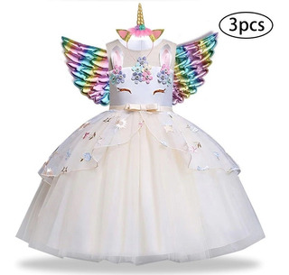 Vestido Unicórnio Encantado Noite Festa Infantil Asa Chifre