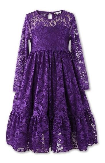 Vestido Fiesta Nena Encaje Bordo O Violeta Talles 5 - 6 - 7