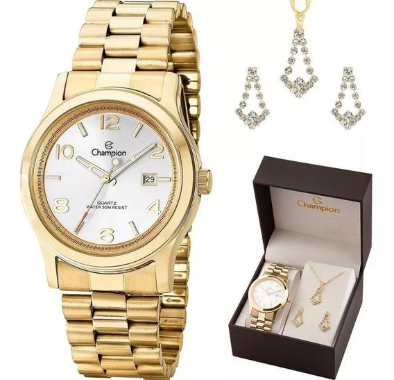 Relógio Feminino Champion Ch24428e Colar E Brincos Garantia