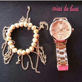 Relógio Feminino Dourado C/ Pulseira Dourada