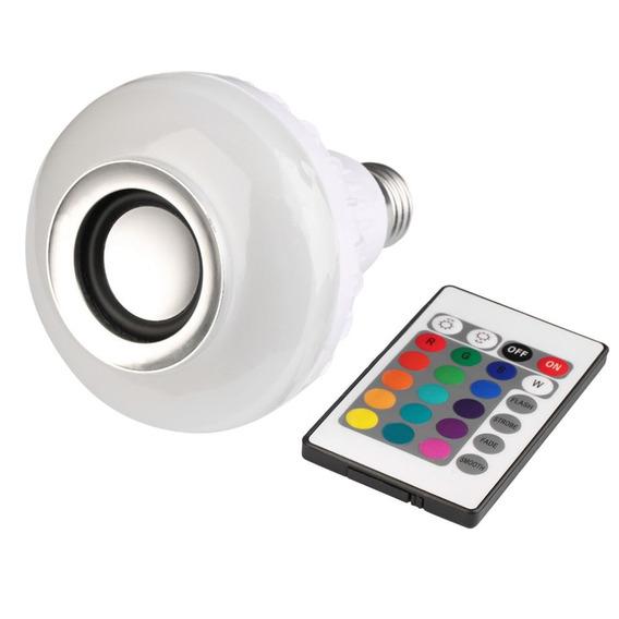 Caixa Som Speaker 3w Smartphone Lampada Luz Led Bluetooth