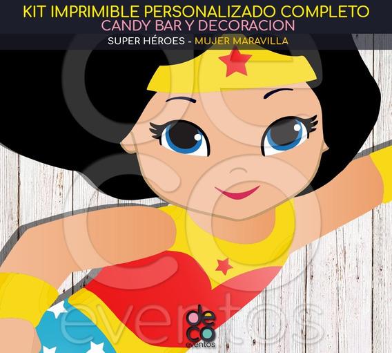 Kit Imprimible Cumpleaños - Mujer Maravilla - Super Héroes