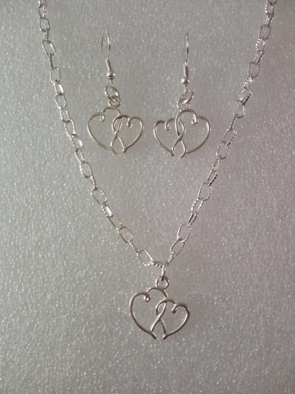 Collar Dije Y Aretes Corazón Doble Bisuteria