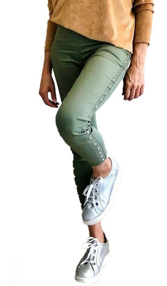 Pantalón Calza Orion Con Tachas Verde Militar (3903)