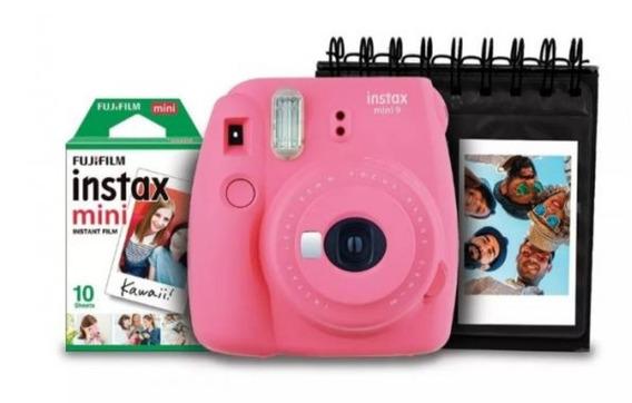 Kit Câmera Instax Mini 9 Rosa+ Porta Fotos +filme 10 Poses
