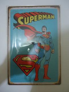 Superman Placas De Aluminio Vintage Dos Placas