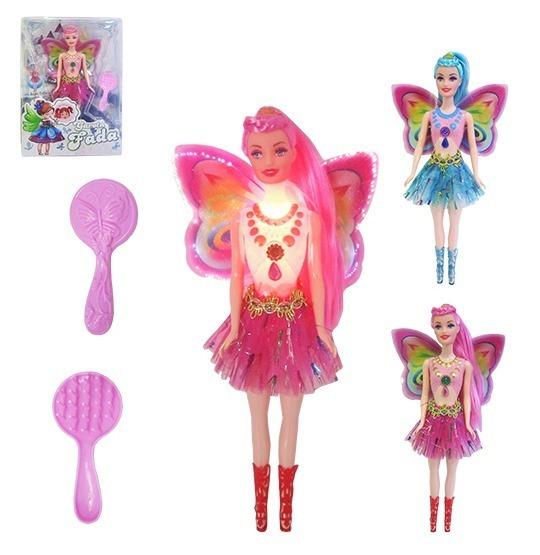Linda Boneca Barbie Fada Com Luzes + Pilhas + Pente 28cm