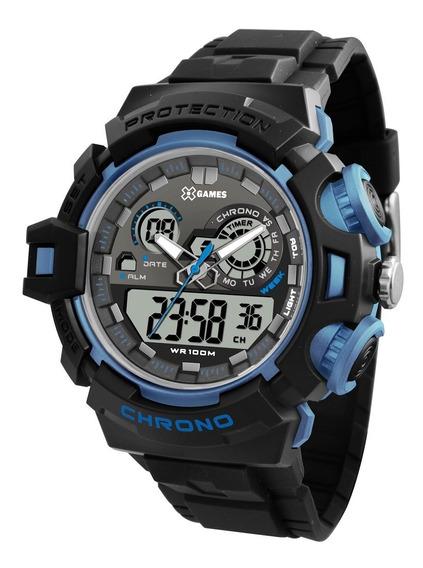 Relógio X-games Masculino Anadigi Xmppa247 Bxpx Preto Azul