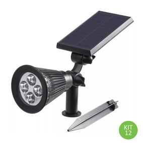 Luminária Espeto Spot Solar Led 2w Branco Frio 3.7v Kit 12