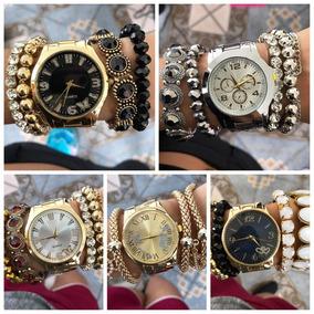 Lote C/10 Relógios Feminino+kit Pulseiras Exclusivo Atacado
