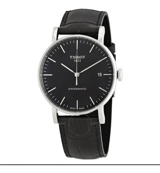Relógio Tissot Automático Everytime Swissmatic Couro Preto