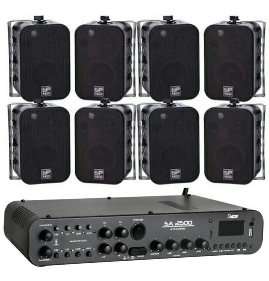 Kit Som Ambiente 8 Caixas Sp400 P Donner + Ampli Sa2500 180w