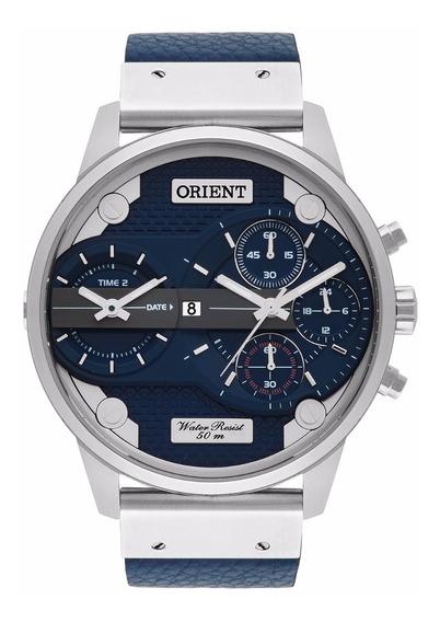 Relogio Orient Masculino Mbsct002 D1dx Azul Couro Cronografo