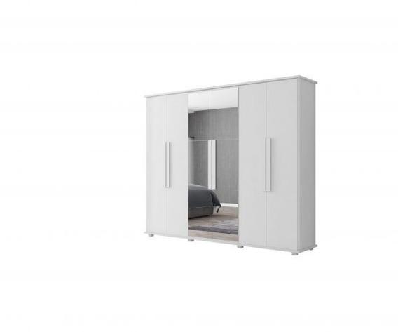 Roupeiro 6 Portas Com Espelho Estrela Branco Rv Móveis