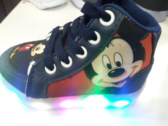 Botinha Cano Alto Mickey Mouse Luzes De Led