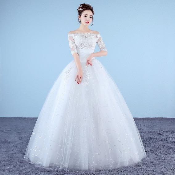 Vestido Para Noiva Decote Alto P Ou M Com Veu