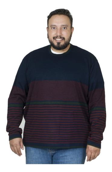 Malha Plus Size Bigshirts Gola Careca Listrado - Azul/vinho
