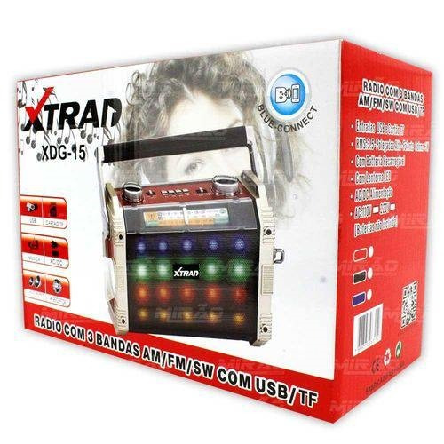 Radio Bluetooth Som Fm Am Sw Lanterna Usb Sd Mp3 Com 3 Banda