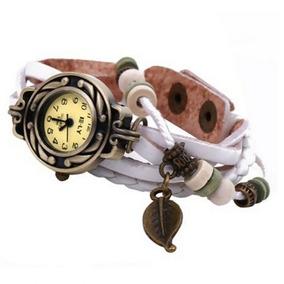 Relógio Feminino Pulso Pulseira Couro Pingente Folha-branco