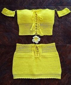 Croptop Y Pollera Tejida A Crochet