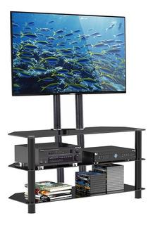 Mesa Rack Tv Led, 3 Estantes, Vidrio Templado Negro