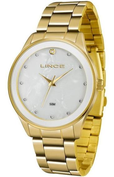 Relógio Lince Feminino Dourado E Madrepérola - Lrgj090l B1kx
