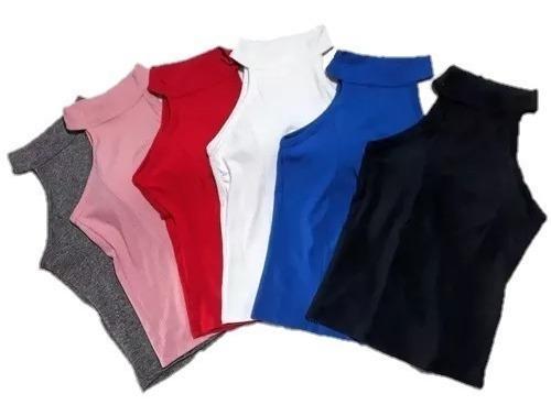 Blusa Camiseta Regata Gola Alta Canelada Bojo Justa