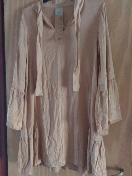 Vestido De Fibrana Mujer L