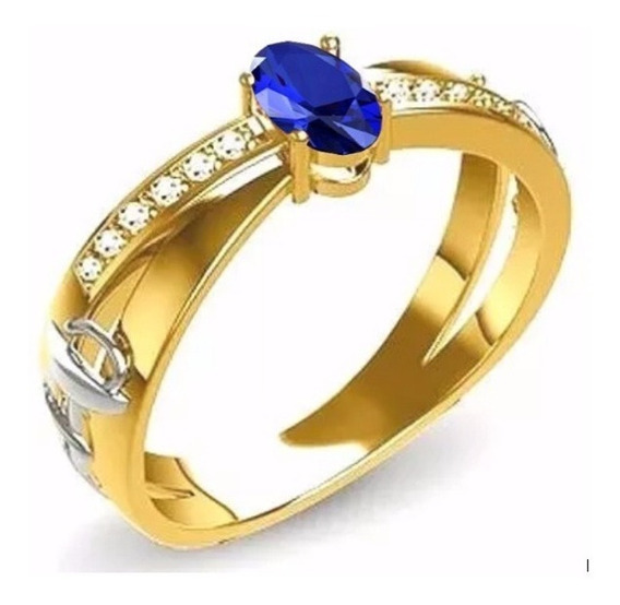 Anel De Formatura Em Ouro 18k Com Zircônia Cor Azul Safira