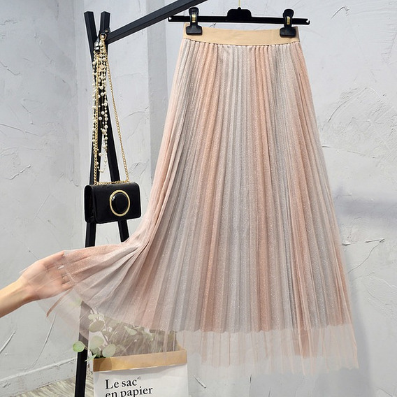 Falda Plisada De Fino Tul Unitall Color Gradiente Metalico