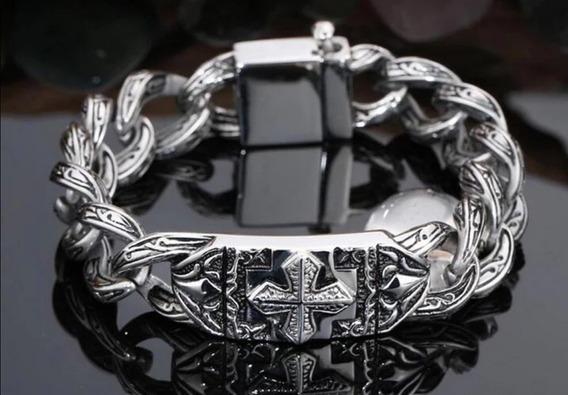 Pulseira Bracelete Masculino Templário De Aço Inoxidável.