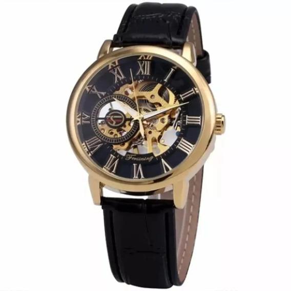 Relógio Masculino Forsining Esqueleto Mecânico Original Luxo