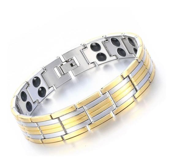 Pulseira Aço Inox Magnética Energética Bracelet Prata Ouro