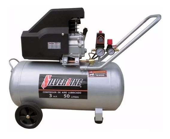 Compresor De Aire Lubricado 3 Hp 50 Lts 3h50l Silver