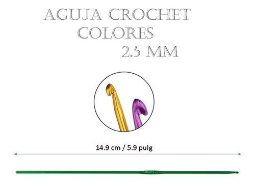 Aguja De Tejido Crochet Amigurumi Metalica Colores 2.5 Mm