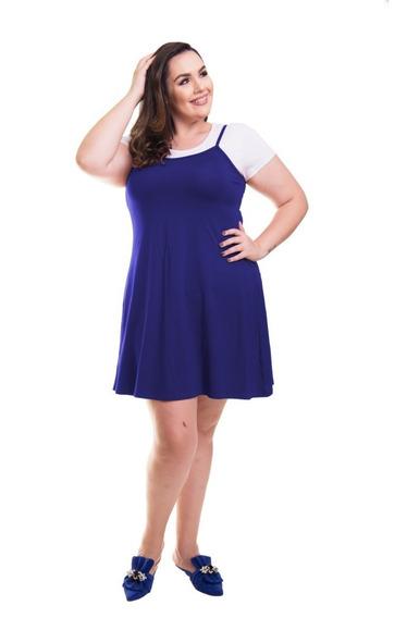 Roupa Feminina Vestido Plus Size Curto De Alça Sem Cropped
