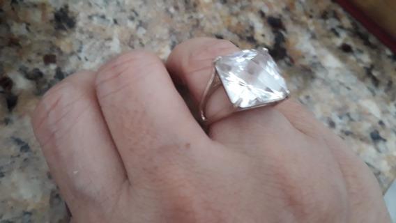 Anel De Prata De Lei Com Cristal Quartzo Lapidação Luxo!