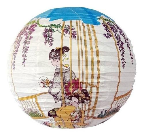 Luminária Japonesa Branca Gueixas Oriental Festa  40cm