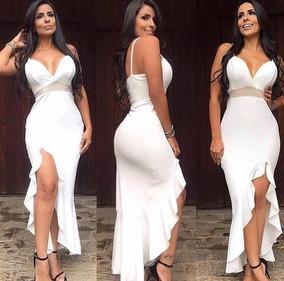 26eaeb4038 Vestido Longo Aberto Na Perna Preto - Vestidos Femininas Branco no ...