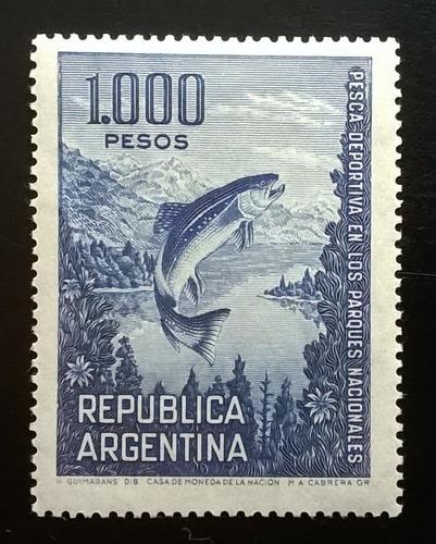 Argentina Peces, Sello Gj 1323 Pesca 1000p 1968 Nuevo L11725