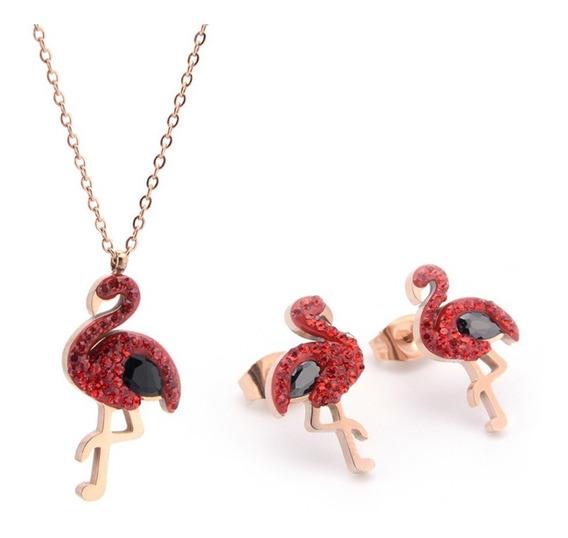 Set Collar Arete Con Pendiente Animal Flamenco Zirconia Rojo