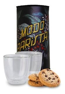Combo Capsulas Colombia + 2 Vaso Doble Vidrio + Big Cookies