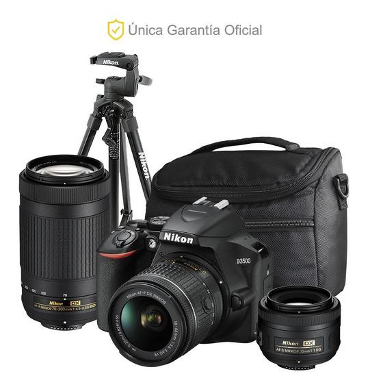 Nikon Oficial D3500 18-55, 70-300, 35 F/1.8, Trípode Y Bolso