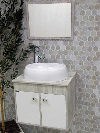 Gabinete Armário P/ Banheiro Luziania 50cm Com Cuba Luzza
